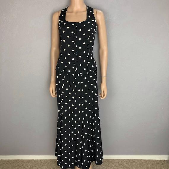 90s Women's Polka Dot Two Piece Set Tank and Matching Skirt Size Medium Black White Epsteam