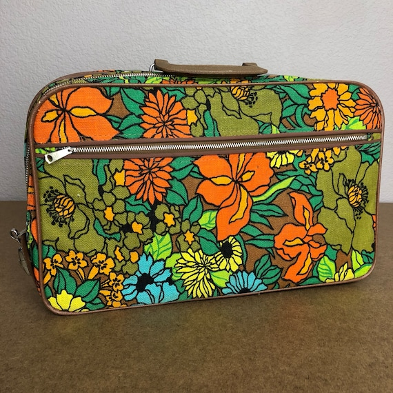 60s Retro Floral Print Suitcase Small Mod Psychedelic Overnight Travel Bag 60s Accessories Epsteam