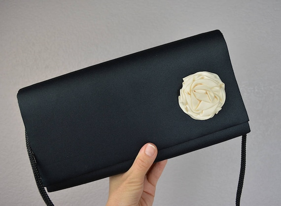 90s Black Satin Purse With Large White Rosette and Long Cord Strap Evening Clutch Evening Bag 90s Accessories Prom Formal Holiday Epsteam
