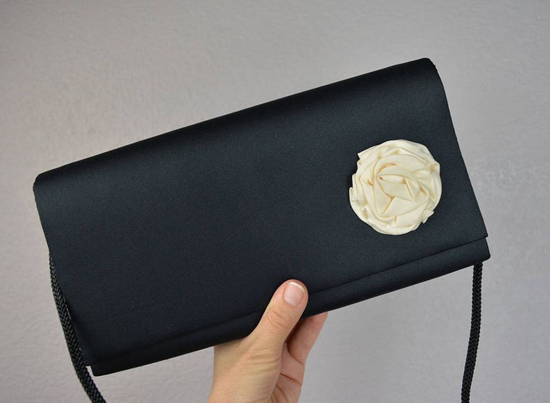 f9df3b9182a 90s Black Satin Purse With Large White Rosette and Long Cord | Etsy