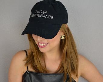 "90s Women's Rhinestone Baseball Hat ""High Maintenance"" Slogan Hat Black Adjustable 90s Accessories Epsteam"