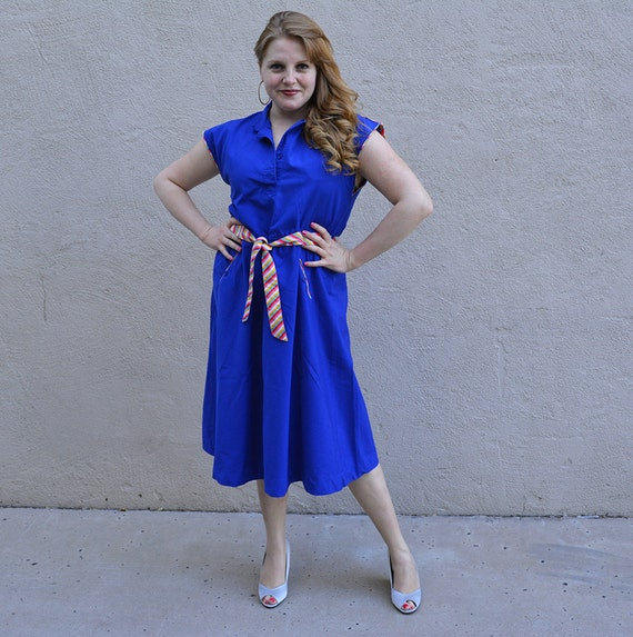 80s Sundress Bright Blue Short Sleeve Casual Dress 80s Does 50's Pinup Inspired Dress Epsteam