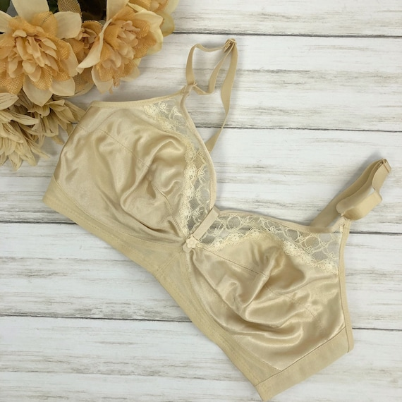 60s Women's Pinup Style Bra by Exquisite Form Size 36D Beige Nude Lacey Bra 60s Clothing Epsteam