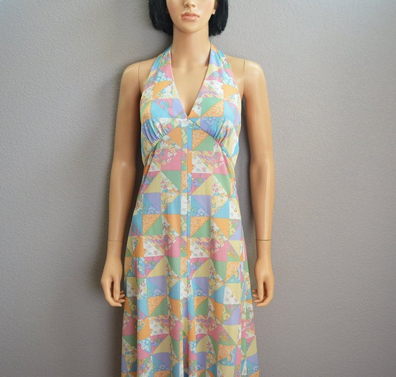 70s Women's Pastel Maxi Dress Size Small Backless Halter Dress 70s Clothing Epsteam