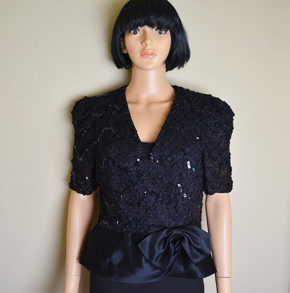 80's Sequin Top Evening Blouse Wrap Top Black Peplum Top Short Sleeve 80s Clothing Epsteam