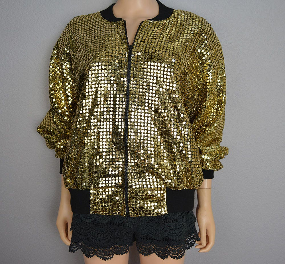 c6a9fc528 80s Gold Sequin Jacket Zip Up Bomber Jacket One Size Fits Most ...