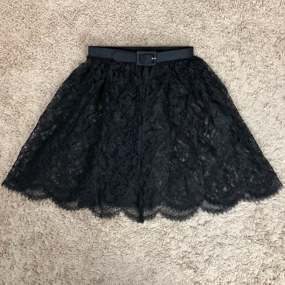 50s Women's Black Lace Apron Belted Size XS Sheer Half Apron 50s Clothing Epsteam