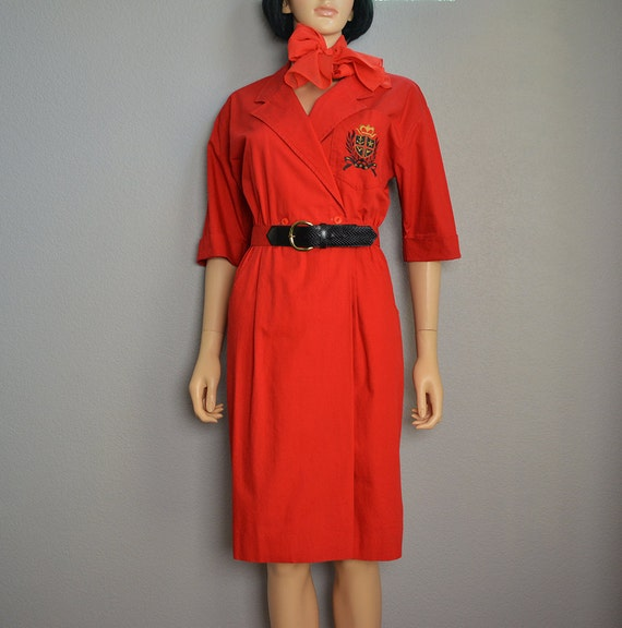 80s Shirt Dress Red Short Sleeve Knee Length Dress With Matching Belt and Scarf 80s Clothing Epsteam