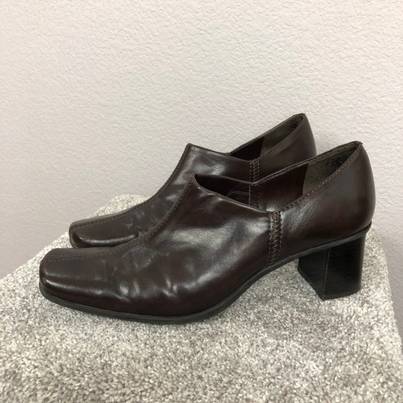 90s Women's Dark Brown Booties by Franco Sarto Size 9M Square Toe Chunky Heel Slip Ons Faux Leather 90s Shoes Epsteam