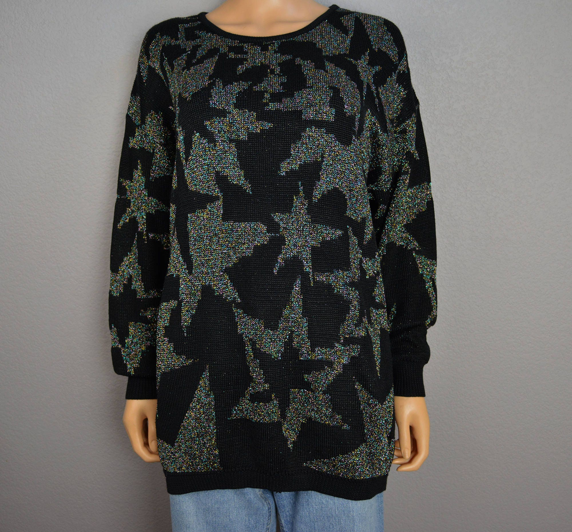 1be37856d81 80s Star Print Sweater Black With Multicolor Metallic Threads Size ...
