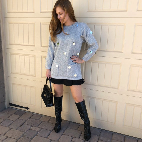 Mod Inspired Sweater Silver Sweater With Large Round Sequins Long Sleeve Pullover Sweater Epsteam