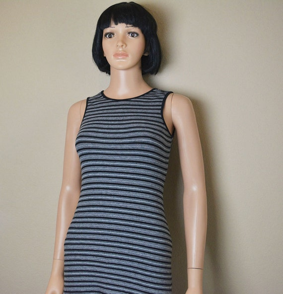 90s Tunic Top Sleeveless Black White and Gray Stripes Open Back 90s Tee Womens T Shirt Epsteam