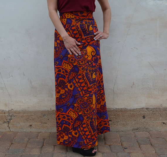 Printed Retro Skirt Multicolor Skirt Boho Skirt Long Skirt Maxi Skirt 70s Clothing Festival Clothes Epsteam