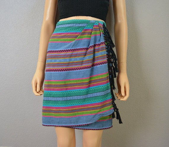 80s Wrap Skirt Liz Claiborne Boho Fringe Skirt Guatemalan Inspired Skirt Epsteam