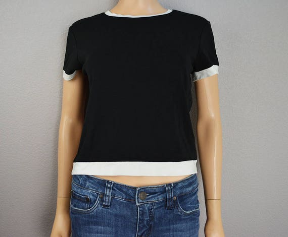 90s The Limited Black and White Crop Top Short Sleeve Crewneck Casual Tee Size Medium 90s Clothing Epsteam