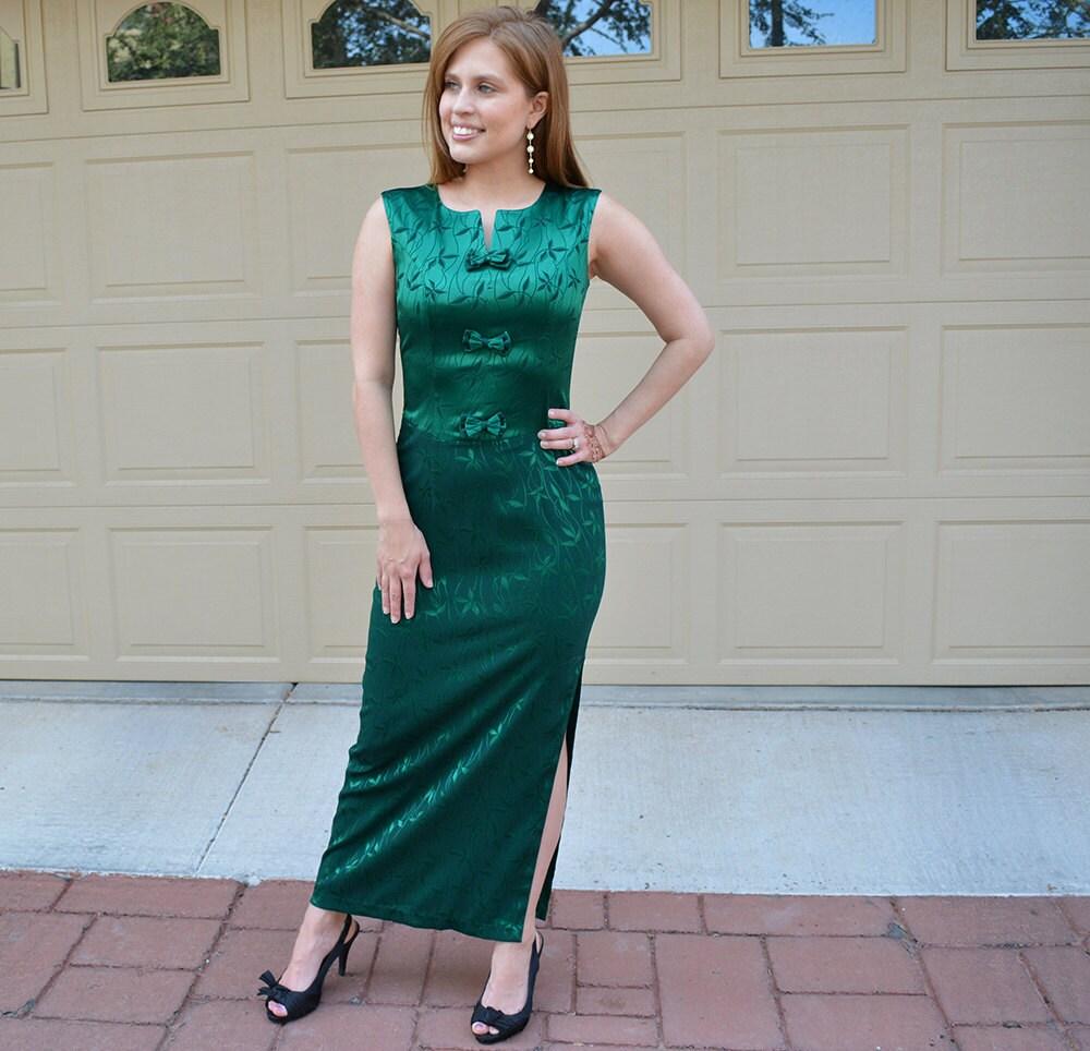 688f6ae57c Emerald Green Evening Gown 60 s Evening Wear Long Dress Maxi ...