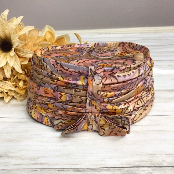 60s Women's Gene Doris Pillbox Hat Pastel Floral Print Ruched Bow Multicolor 60's Accessories