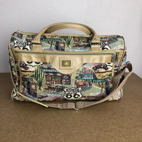 80s Pioneer Express Tapestry Duffle Bag Large Route 66 Travel Theme Weekend Bag Carry On Epsteam