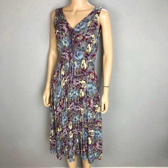 90s Women's Floral Lace Up Midi Dress by Starina Size Medium Grunge Multicolor Sundress Epsteam