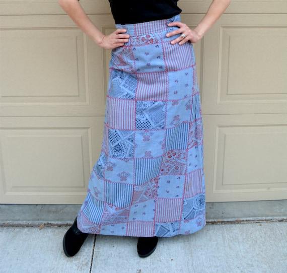 70's Maxi Skirt Denim Patchwork Print Cotton Casual Epsteam