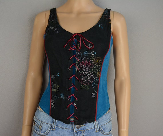 Women's Lace Up Embroidered Tank Top Size Medium Boho Floral Festival Clothing Western Cowgirl  Clothing Epsteam