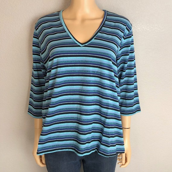90s Women's Striped Grunge T-Shirt Size Medium Metallic Short Sleeve V Neck