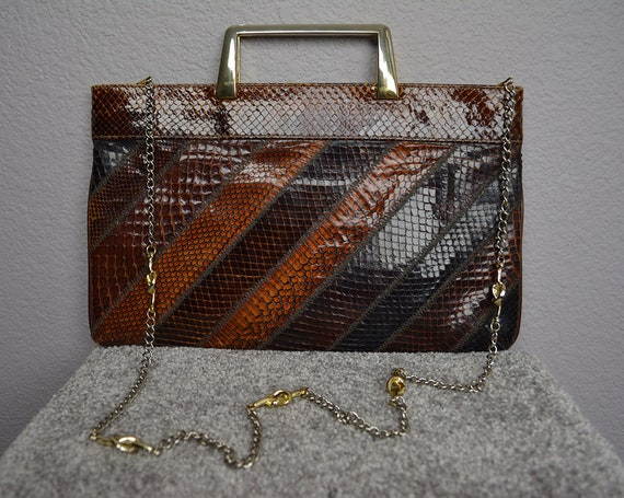 70s Women's Snakeskin Shoulder Bag Chain Strap Metal Top Handle Flat Boho Retro Purse 70s Accessories Epsteam