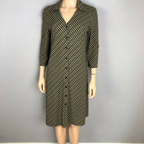 90s Women's Button Down Casual Dress Size 8 Geometric Print Long Sleeve Knee Length Dress 90s Clothing Epsteam
