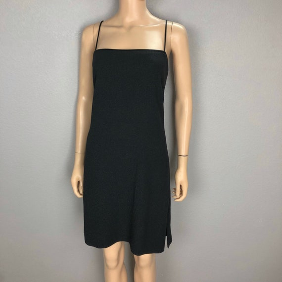 90s Women's Black Cocktail Dress Size 10 Spaghetti Strap Shimmery Dress 90s Clothing Epsteam