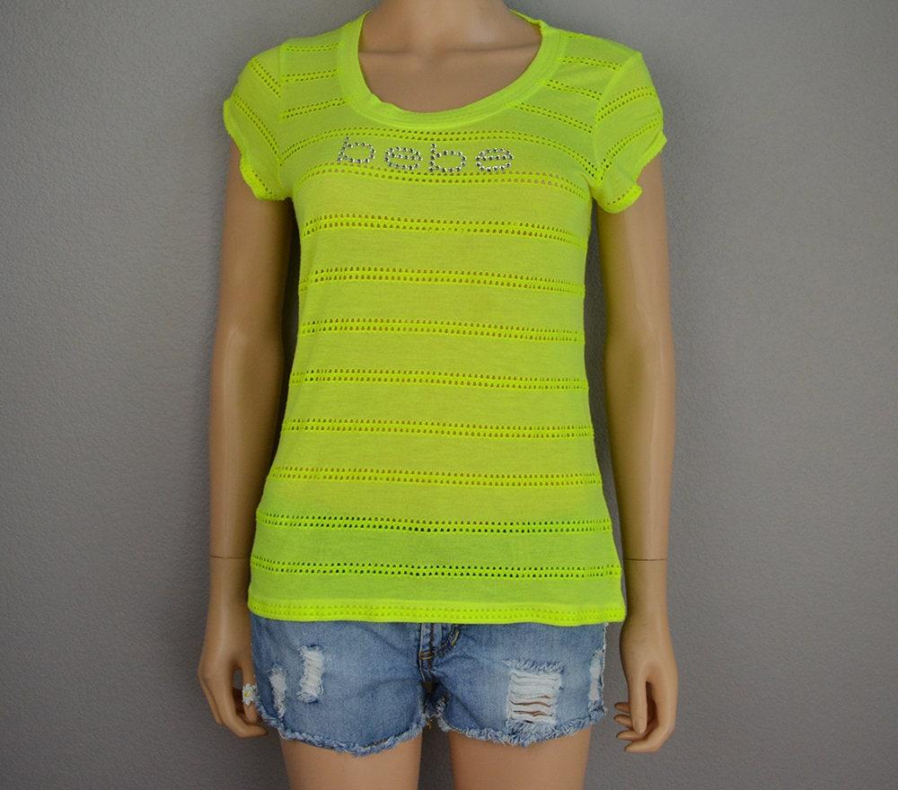 90s Women S Bebe Rhinestone Logo Tee Size Large Neon Lime