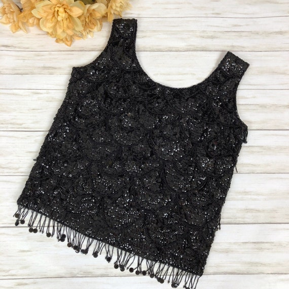 50s Women's Sequin Beaded Knit Tank Top Size Mediu