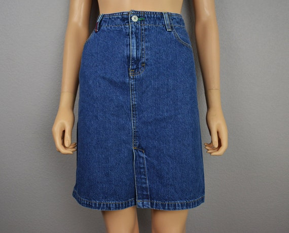 90s Women's Tommy Hilfiger Denim Pencil Skirt Medium Wash Jean Skirt Size 11 90s Clothing Epsteam