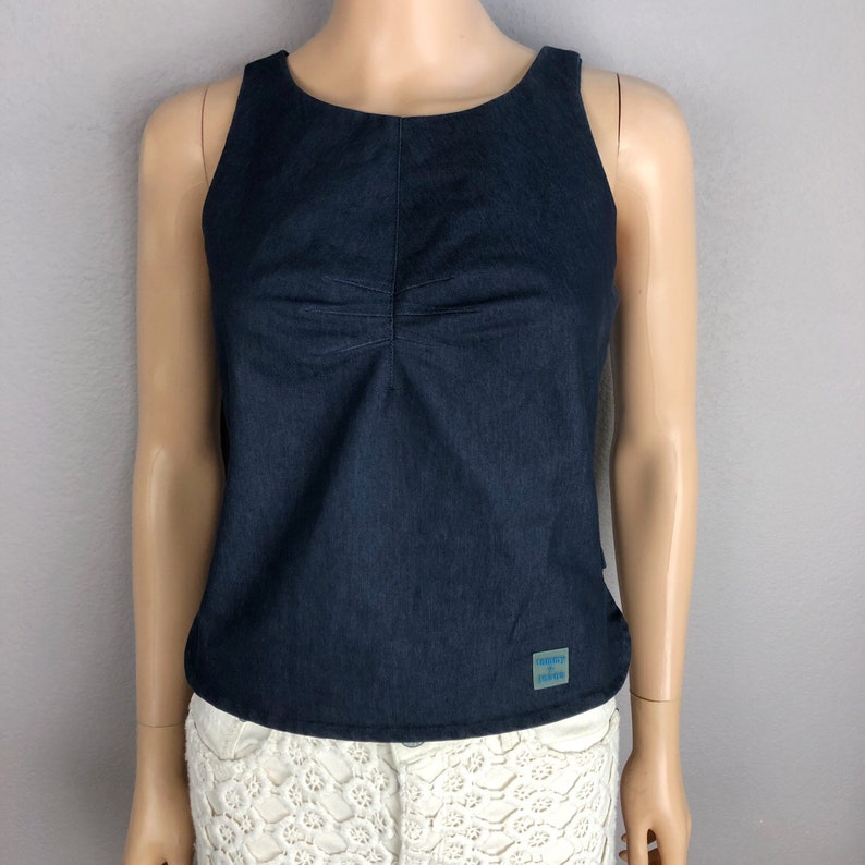 c3d9557ad09107 90s Women's Tommy Hilfiger Denim Tank Top Size Medium Dark | Etsy