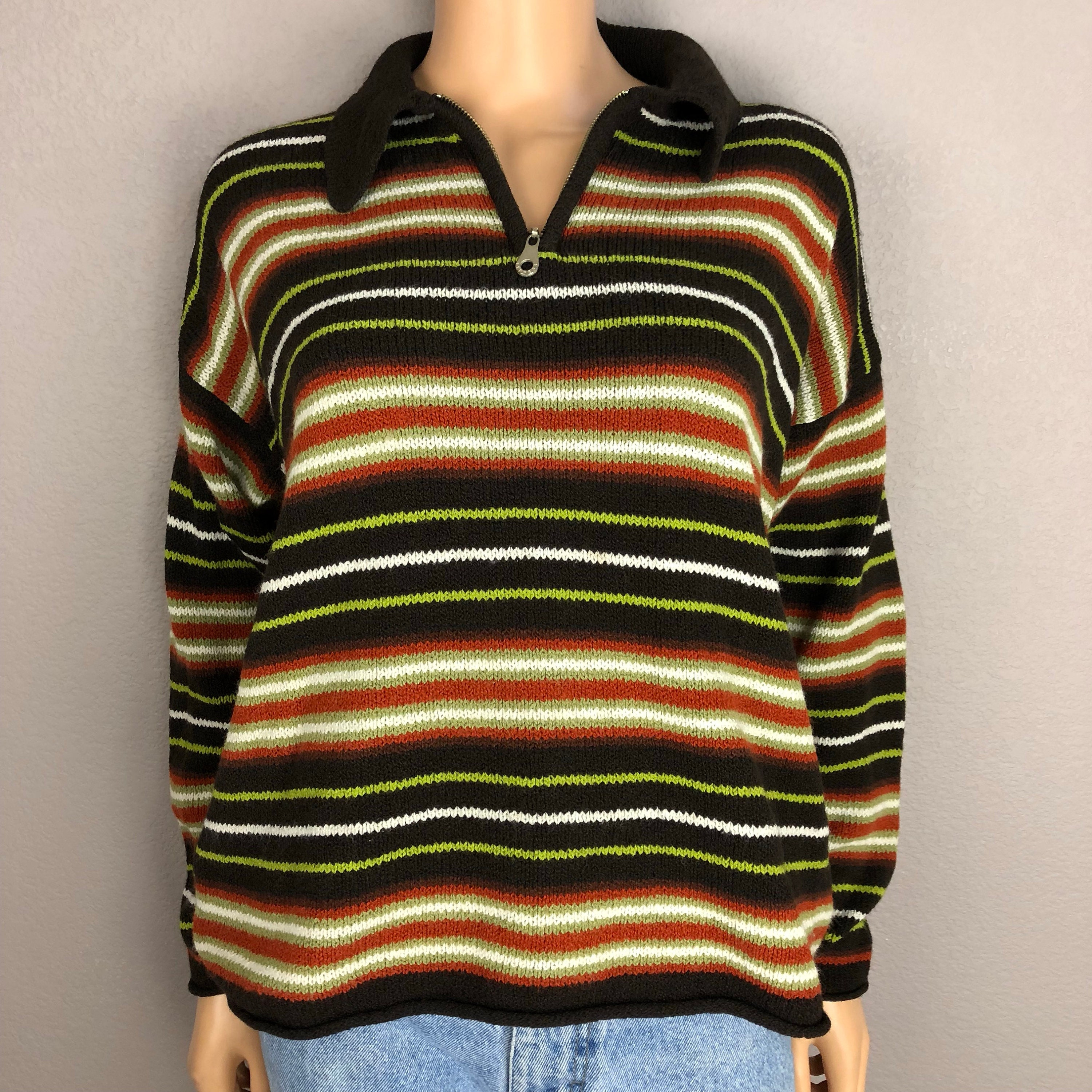0063ba94ae1 90s Women s Striped Pullover Sweater Express Tricot Size Small ...