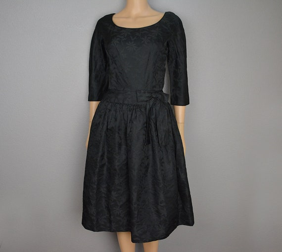 50s Women's Black Fit and Flare Cocktail Dress Three Quarter Sleeve Party Dress Knee Length 50s Clothing Epsteam