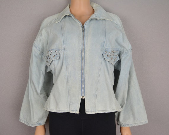 80s Women's Denim Jacket Studded Rhinestone Bedazzled Size Medium Dolman Sleeve Light Wash 80s Clothing Epsteam