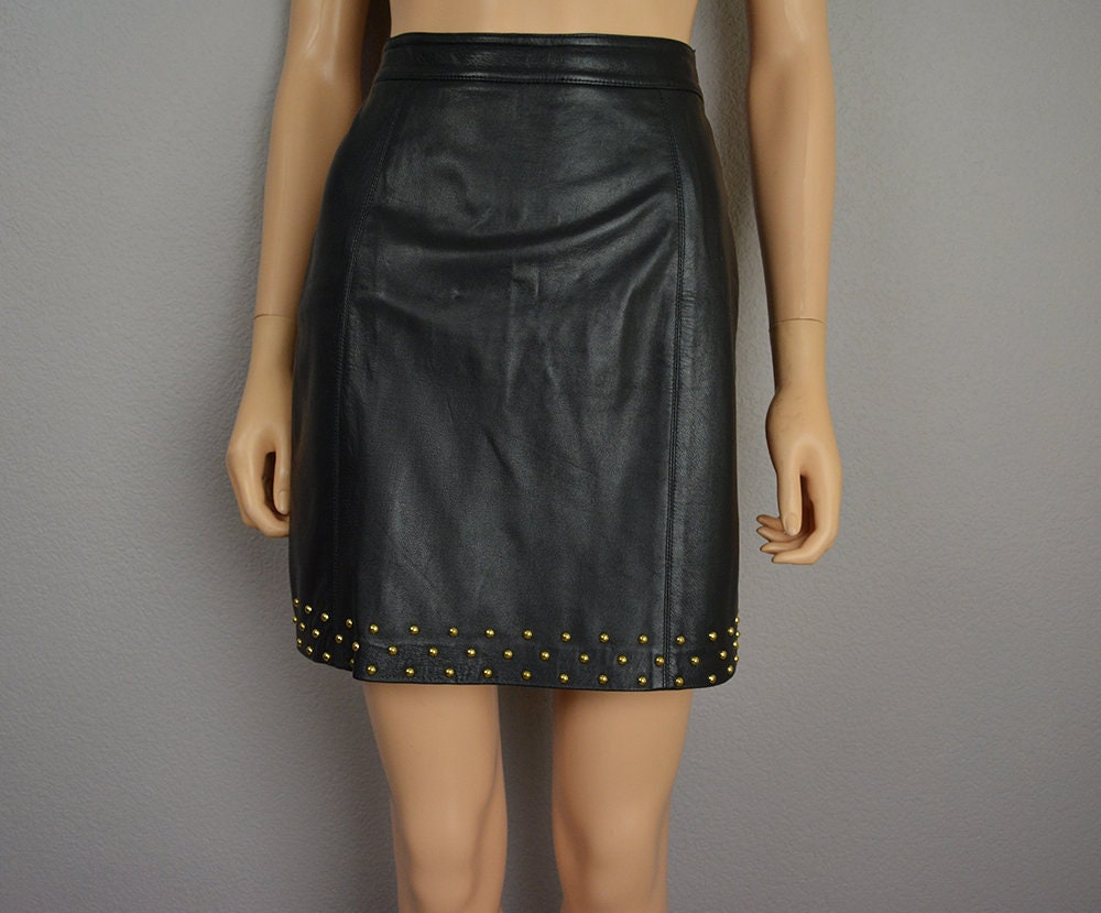80s Women S Leather Mini Skirt Black Gold Studded Embellished Small