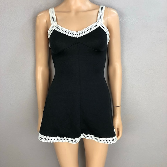 60's Vintage Cocktail Waitress Uniform Two Piece Set Mini Dress and Bloomers Size 0/XS Black Polyester Epsteam