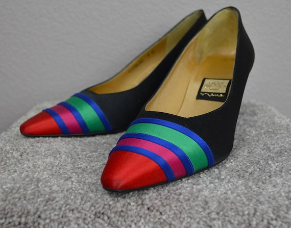 90s Women's Nina Colorblock Pumps Satin Evening Heels Size 7M Pointy Square Toe Chunky Heel Party Shoes 90's Shoes Epsteam