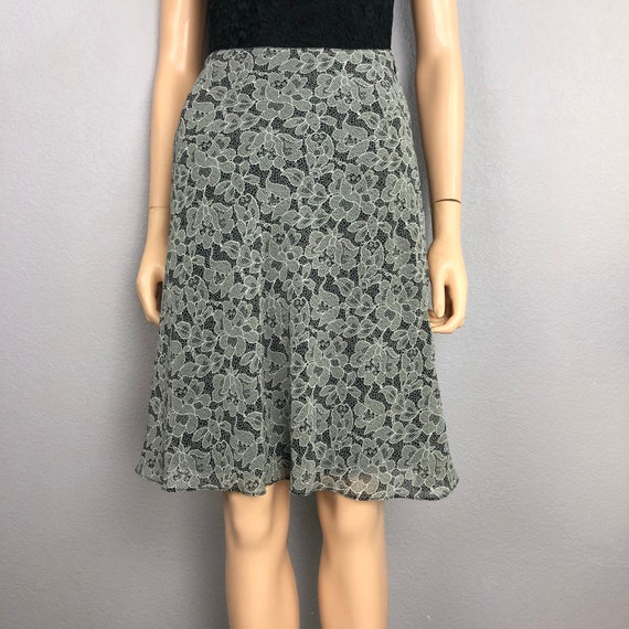 90's Women's Lace Print Skirt Size Small by Express Black White Casual Knee Length Skirt 90s Clothing Epsteam