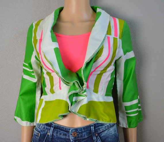 60s Cropped Jacket Green White Pink Ruffled Jacket Short Jacket 60s Clothing Epsteam