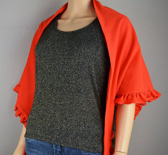 70s Red Shawl With Ruffle Trim 70s Retro Wrap Large 70s Scarf Polyester Epsteam