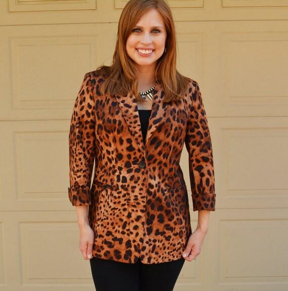 Leopard Print Blazer 90s Clothing Long Fitted Blazer Brown and Black Blazer Vintage Blazer Epsteam