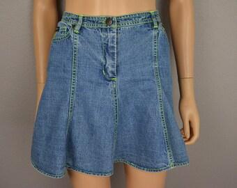 90s Betsey Johnson Denim Circle Skirt Size Large Medium Wash Lime Green Decorative Stitching 90s Clothing Epsteam