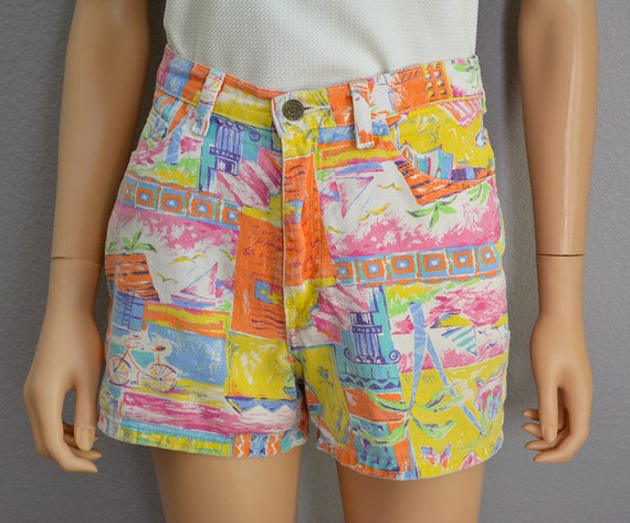 90s High Waisted Shorts Printed Shorts Pink Yellow and Orange 90s Clothing Summer Shorts Epsteam