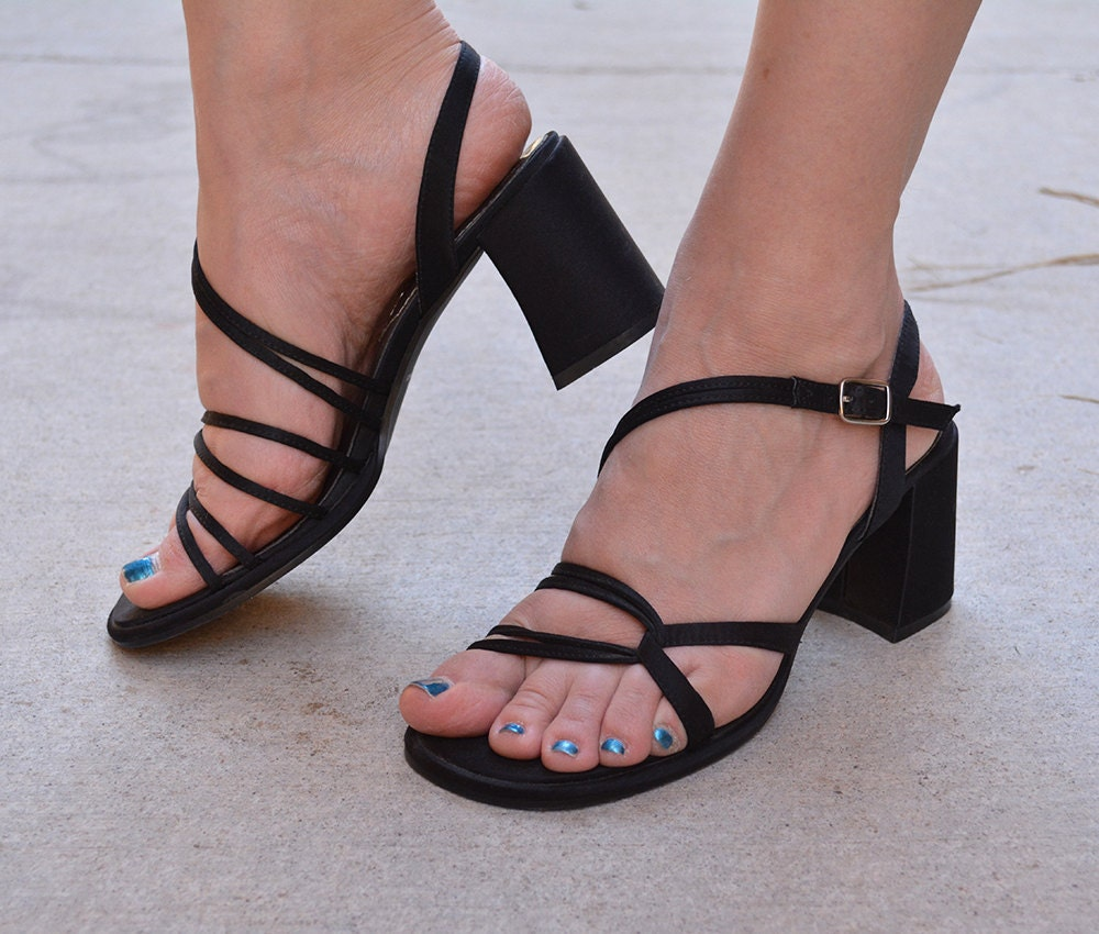 dc5cb83a51 90s Chunky Heel Sandals Black Strappy Sandals Satin Shoes Mudd ...