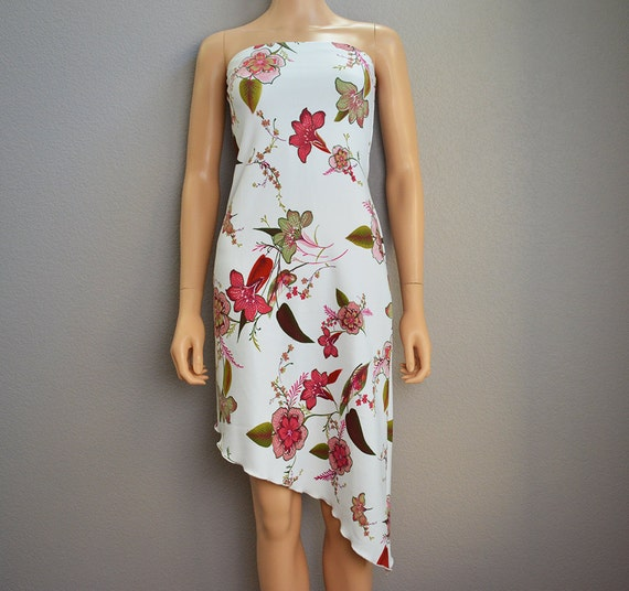 Asymmetrical Dress White With Floral Print Strapless Dress XS/SM 90s Dress 90s Clothing Fitted Dress Epsteam