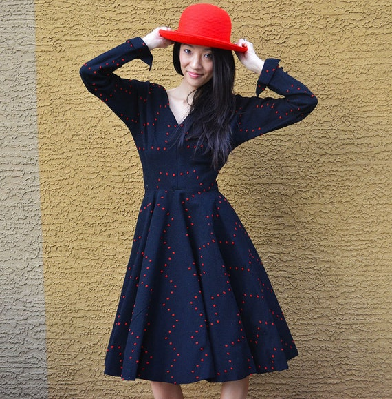 50s Wool Dress Black With Red Dots Cocktail Dress Handmade in Paris Flare Dress Epsteam
