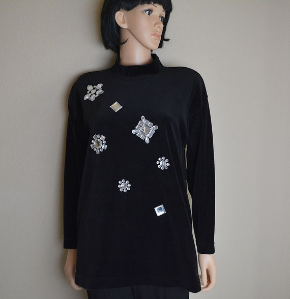 Black Velvet Sweater 80s Does 60s Mod Inspired Mock Neck Faux Diamond Rhinestones Epsteam