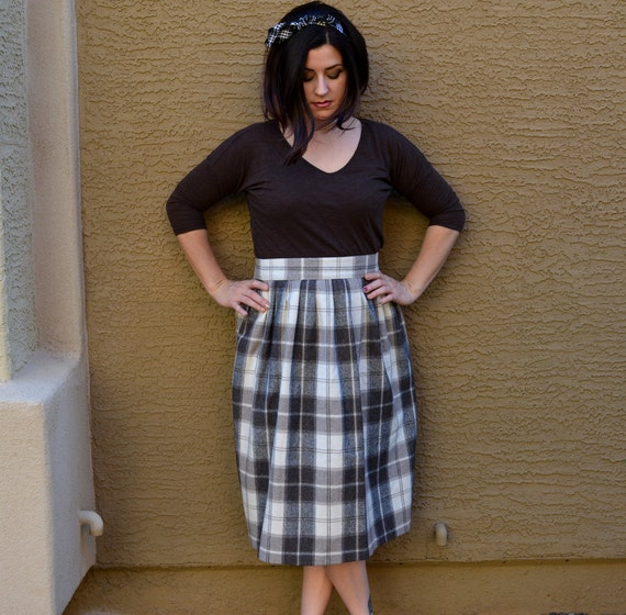 Brown Plaid Skirt Brown Ivory and Black Printed Skirt Midi Length A Line Wool Skirt 70's Skirt High Waisted Skirt Epsteam